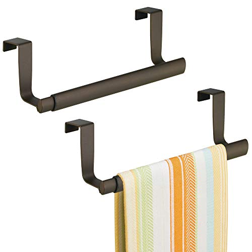 mDesign Adjustable, Expandable Kitchen Over Cabinet Strong Steel Towel Bar - Hang on Inside or Outside of Doors, Storage for Hand, Dish, and Tea Towels - 9.25