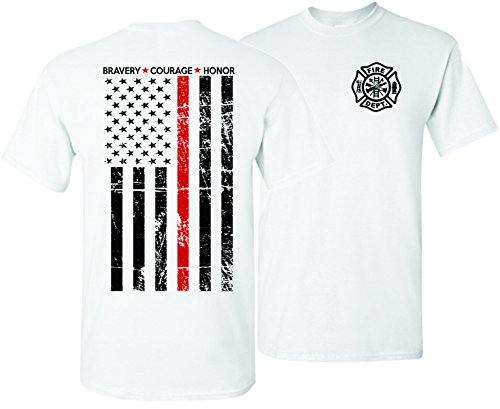 Patriot Apparel Thin Red Line Firefighter T-Shirt Tee Hero Honor Short Sleeve Design (X-Large, White) by Patriot Apparel (Image #2)