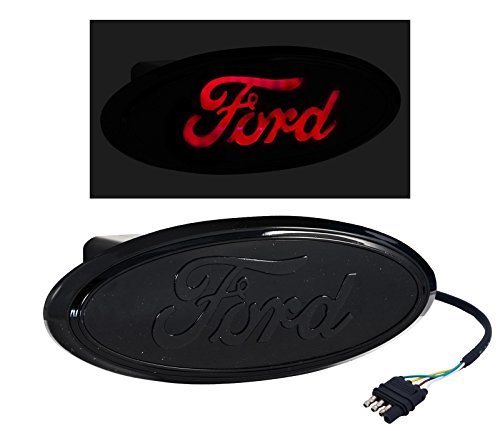 (All Black Rear Tow Hitch Truck Light Up LED Ford Oval)