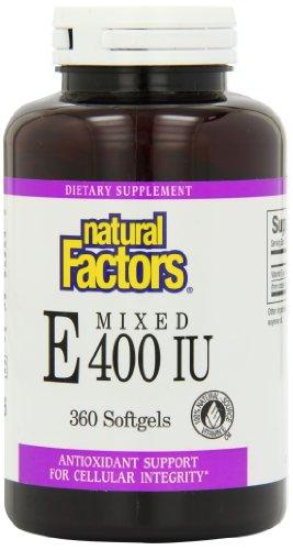 Natural Factors Vitamin E Mixed (D-Alpha Tocopherol) 400iu Softgels, 360-Count