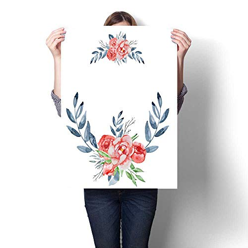 ng Wall Art Peonies Wreaths Set Hand Painted Watercolor Combination of Flowers and Leaves Wall Stickers 20