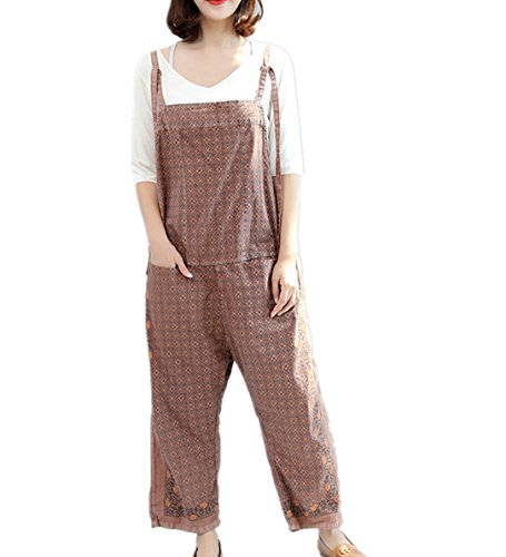 Corduroy Plaid Overalls (YESNO PE7 Women Loose Cropped Pants Overalls Rompers 100% Cotton Floral Printed Spaghetti Strap Front Insert Pocket)