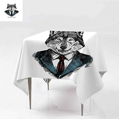Diycon Washable Tablecloth Wolf Business Animal in Suit with Jacket Shirt and Tie Sketch Style Hipster Print Teal Vermilion Black Washable Tablecloth W63 xL72 ()