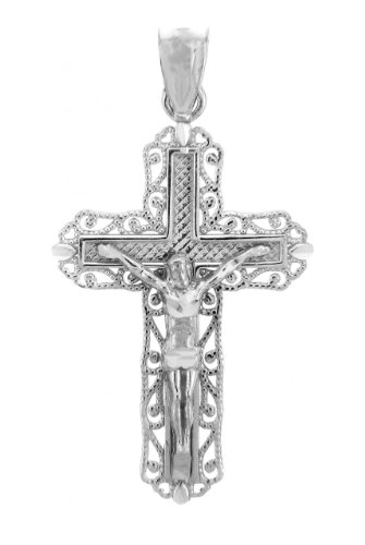 - Religious Jewelry by FDJ 925 Sterling Silver Crucifix Filigree Charm Pendant
