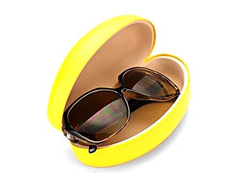 Yellow Glossy Oversize Clamshell Eyeglass / Sunglass Case