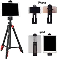 Tripod for iPad 53-Inch Lightweight Aluminum Travel Selfie Tripod with Tablet and Phone Holder for iPhone Mobile Tablet Tripod-Black