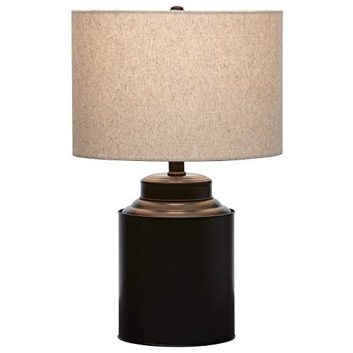 Amazon Brand – Stone & Beam Rustic Farmhouse Jug Living Room Table Lamp With LED Light Bulb and Drum Shade - 12.5 x 20 Inches, Matte Black