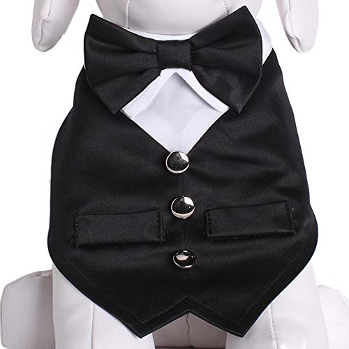 Tail Trends Formal Dog Tuxedo Vest Dog Bandana with Bow Tie for Special Occasions (Occasions Formal Wear Perfect)