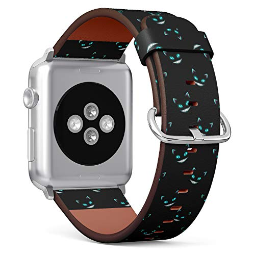 (Disappearing Cheshire Cat Faces on Black Background) Patterned Leather Wristband Strap for Apple Watch Series 4/3/2/1 gen,Replacement for iWatch 42mm / 44mm Bands -