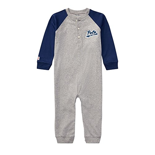 - Ralph Lauren Baby Boys Cotton Jersey Henley Coverall (nb, Andover Heather)