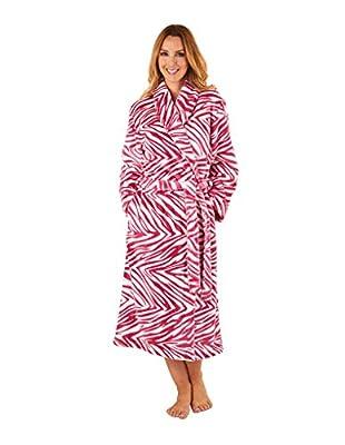 Slenderella GL8741 Women's Raspberry Pink Zebra Print Long Sleeve Robe