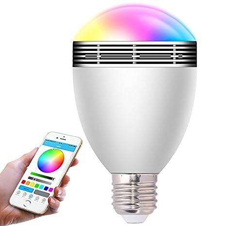 HHX Bluetooth 4.0 de alta calidad bombillas LED de colores, siete colores inteligente bombilla,