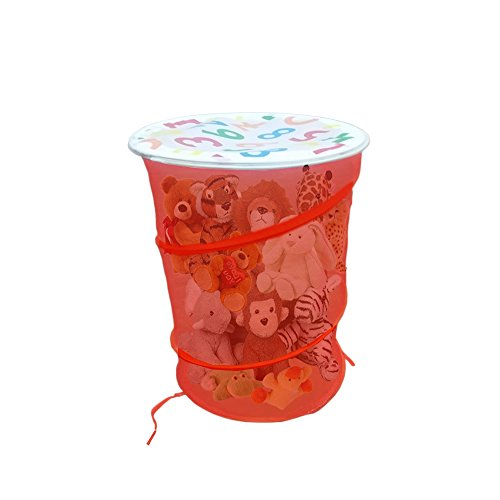 Mesh Toy Pop up Hamper in Red with White Lid with Numbers, Holds Soft Toys and laundry