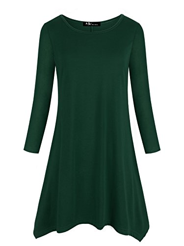 Anna Smith Dress With Pockets, Cute Crew Neck Pullover Sweater For Women 3 4 Sleeve Asymmetrical Hem Draped Blouse Classic Thin Lightweight Sweatshirts Soft Comfy Workout Date Tunic M - Haven Smith