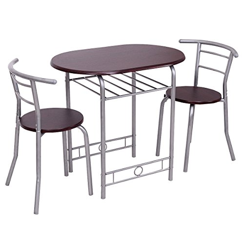 Giantex 3 PCS Bistro Dining Set Table and 2 Chairs Kitchen Pub Home Furniture Restaurant (Brown)