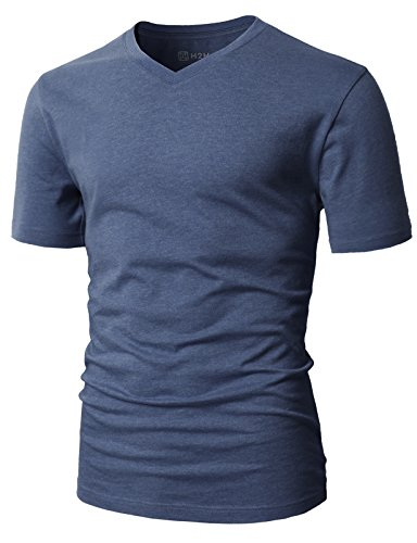 H2H Mens Casual Slim Fit Short Sleeve T-Shirts Cotton Blended Soft Lightweight V-Neck/Crew-Neck