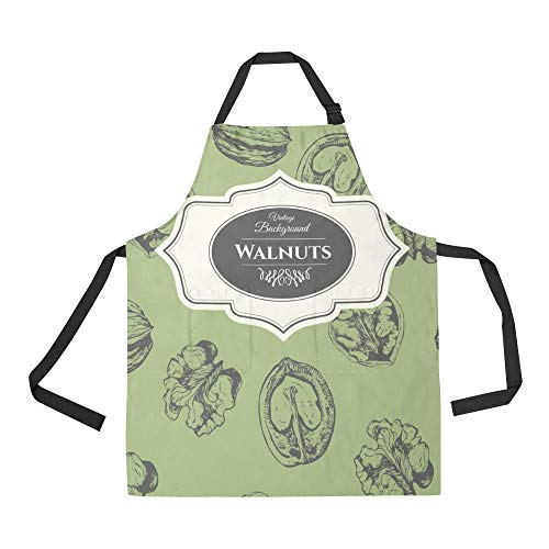 NQEONR Durable Walnut Dried Fruit Snacks Creative Crops All Over Print Apron with an Adjustable Neck&Two Spacious Front Pocketst Unisex Kitchen Home Restaurant Apron for Baking -