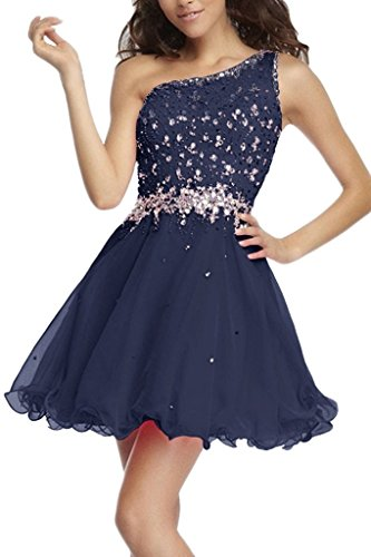 sunvary Sweety a-line inclinado hombro cóctel vestidos fiesta Homecoming Vestido azul marino