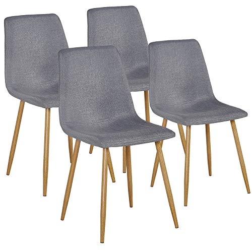VECELO Dining Side Chairs,Fabric Cushion Seat Back Sturdy Metal Legs,Dining/Living Room Chairs Set of 4,Gray