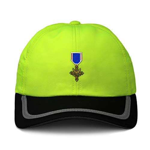 Reflective Running Hat Distinguished Service Cross Embroidery Polyester Soft Neon Hunting Baseball Cap One Size Neon Yellow/Black Design Only
