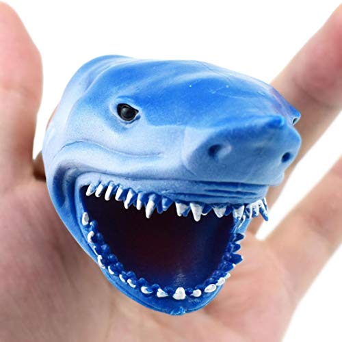 Doug Puppet Childrens (Fiaya 3.3 Inch Shark Finger Puppet Baby Infant Kid Toys Silica Gel Spoof Props Toys (A))