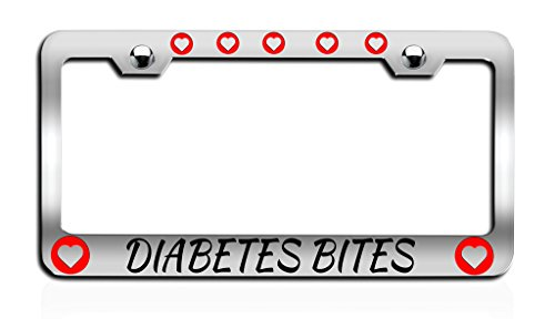 Makoroni - DIABETES BITES Causes Chrome License Plate Frame, License Tag Holder