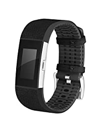 For Fitbit Charge 2 Band Leather, AISPORTS Fitbit Charge 2 Leather Band Soft TPU Breathable Design Smart Watch Replacement Band Bracelet Wrist Band for Fitbit Charge 2 Fitness Accessories - Black