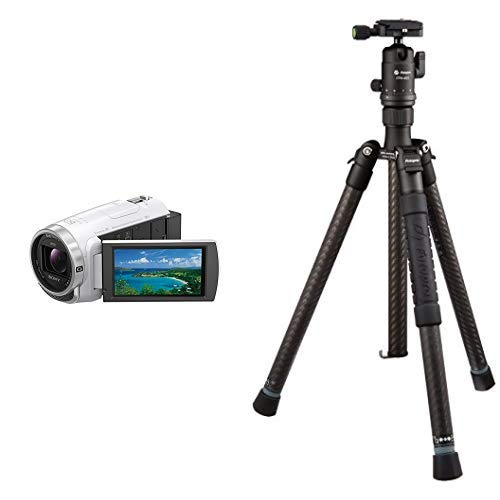 ソニー SONY ビデオカメラ Handycam HDR-CX680 光学30倍 内蔵メモリー64GB ホワイト HDR-CX680 W + Fotopro カーボン三脚 小型