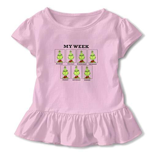 Kim Mittelstaedt My Week from Grinch Children's Short Sleeve T-Shirt Girl's Cute Soft Cotton Dress Pink 2T -