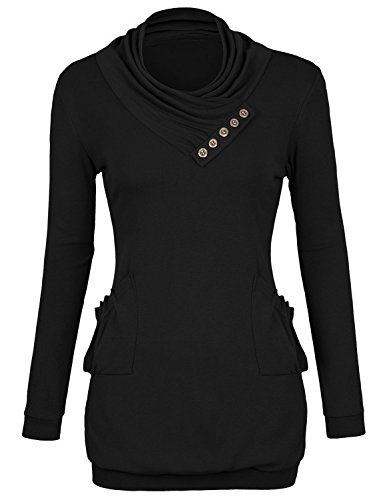 Timeson-Womens-Pullover-T-Shirt-Long-Sleeve-Cowl-Neck-Buttons-Knitting-Top