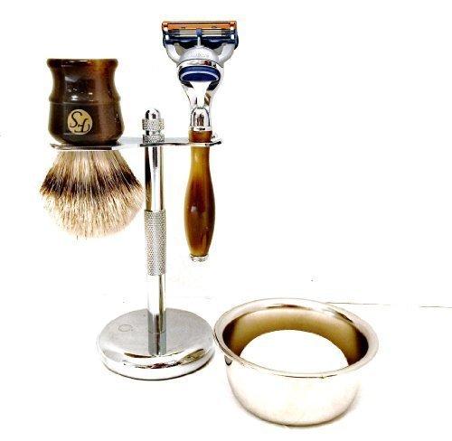 Fs 5 Piece Mens Shaving Gift Set - Fusion Razor + Silvertip Badger Brush + Bowl + Soap by Fs