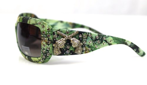 Montana West Camo Crossed Guns Rhinestone Sunglasses - Ladies Online Shopping Sunglasses