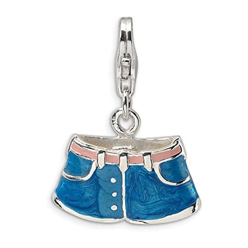 925 Sterling Silver 3 D Enameled Blue Jean Shorts Lobster Clasp Pendant Charm Necklace Fine Jewelry For Women Gift Set
