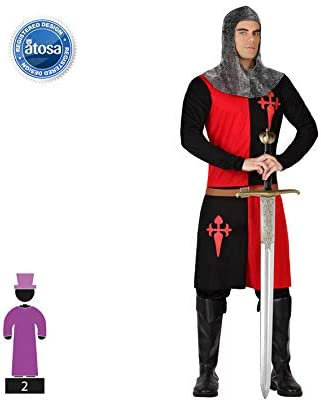 Atosa-57562 Atosa-57562-Disfraz Caballero Cruzadas-Adulto M a L-Hombre-Rojo, color, XL (57562)