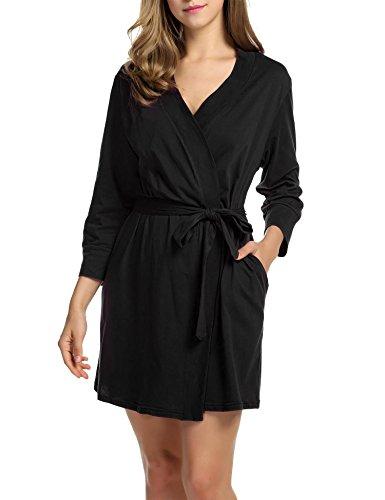 DonKap Women's Cotton Robe, Lightweight Sleepwear Woven Bathrobe Black XXL