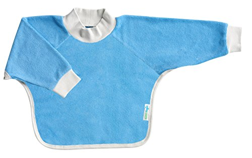 Kiddologic bibit-all Baby & Toddler Long Sleeved Full Coverage Pullover Waterproof Terry Bib (12-36 months (toddler), sky blue)