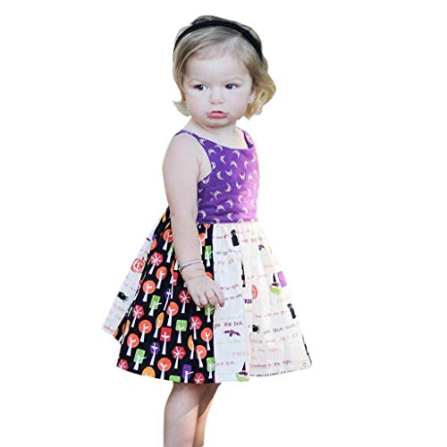 YJYdada Baby Skirt, Toddler Infant Baby Girls Print Sleeveless Strap Dress Halloween Costume Outfits (100) -