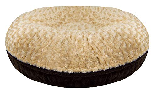(BESSIE AND BARNIE Signature Camel Rose/Godiva Brown Extra Plush Faux Fur Bagel Pet/Dog Bed (Multiple Sizes))