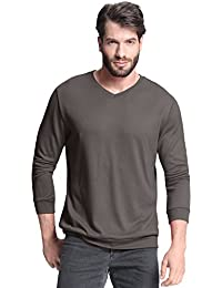 PODOM Men's Long Sleeve V Neck Tee Shirts Polyester Casual Solid Color Tops