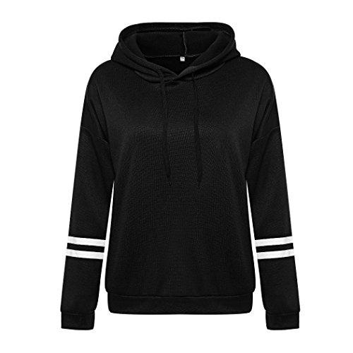 MIOIM Womens Girls Fashion Drawstring Long Stripes Sleeves Hoodie Sweatshirt Casual Pullover Tops