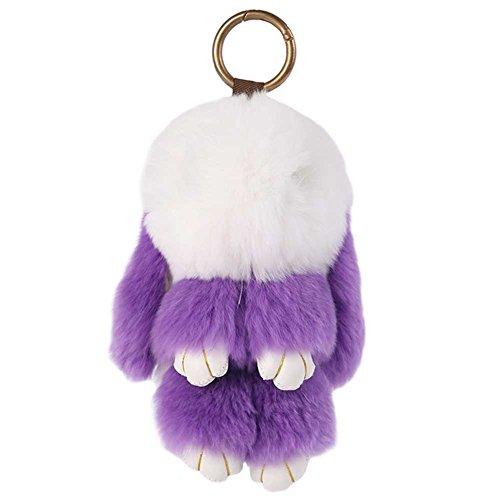BAOBAO Bunny Fur Rex Rabbit Pompom Ball Doll Pendant Keychain Car Handbag Keyring (White & Purple)