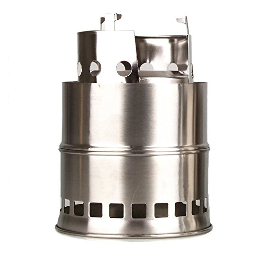 Goswot Portable Stainless Steel Camping Stove Lightweight Charcoal Solidified Alcohol Wood Camp Stove with Mesh Bag for Picnic Outdoor Cooking BBQ Hiking