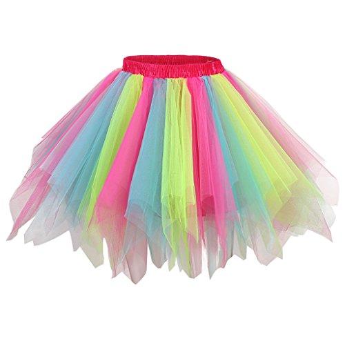 Tutu Dress Adult (Ellames Women's Vintage 1950s Tutu Petticoat Ballet Bubble Dance Skirt Rainbow)