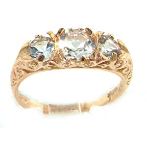 9K Rose Gold Womens Luxury Aquamarine Trilogy Ring - Finger Sizes 5 to 12 Available