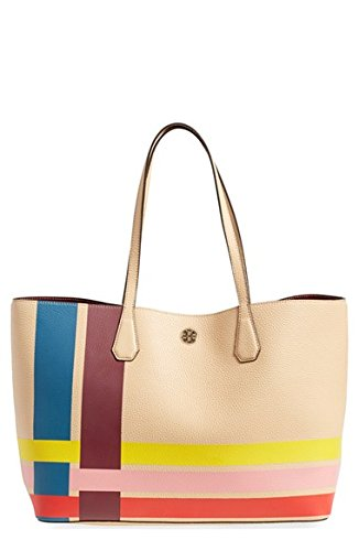 131291ec76e Tory Burch Perry Stripe Pebbled Leather Tote Variegated Stripe Multi Handbag  Bag