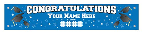 Graduation Decor Your Info Congratulations Banner Blue Grad Decorations Personalized Vinyl Banner]()