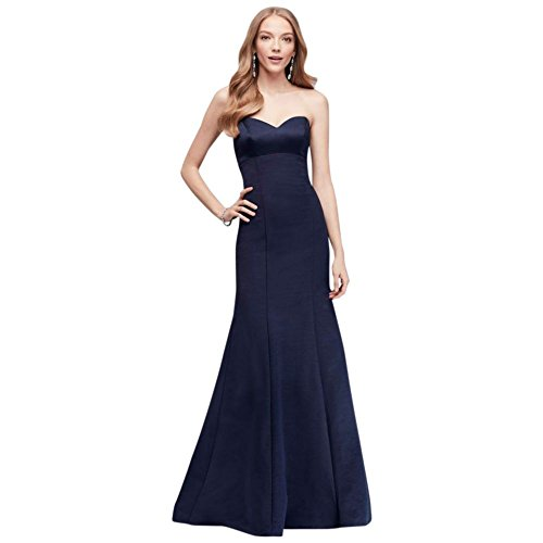 David's Bridal Strapless Faille Mermaid Bridesmaid Dress with Bow Style OC290033, Marine, (Oleg Cassini Davids Bridal)