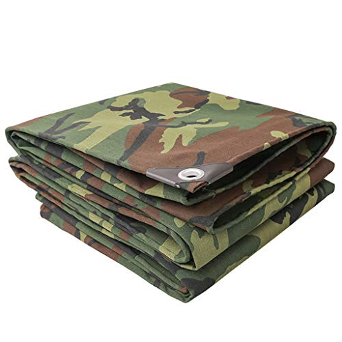 JLDNC Heavy Duty Waterproof Camouflage Tarp, Camouflage Tarpaulin Cover with Grommets,27mil Multi-Purpose Canvas Tarpaulin/Waterproof Fireproof Sunscreen,15x18Ft/5x6m
