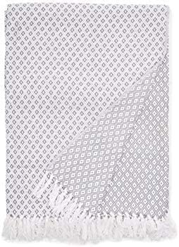 EHC Super Suave Manta de algodón Grande Cubre hasta 2-sofá o Cama de Matrimonio - Gris: Amazon.es: Hogar