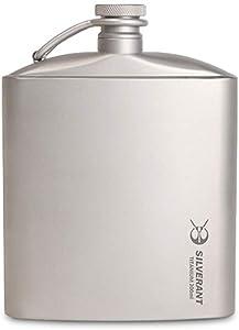 SILVERANT Titanium Ultralight 200ml/6.76 fl oz Hip Flask with Screw Cap Clip and Drawstring Cloth Case